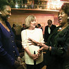 Actress Tonea Stewart, right, regales Jarvis College president Sebetha Jenkins, left, and UNCF honorary chair Martha Whitehead with her story of getting through a snowed in airport to be at the jarvis College UNCF fund-raiser Thursday evening in the Summit Club. Matula photo.
