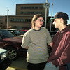 Amanda and samy Catron talk in the parking lot of Good Shepherd Medical Center as they get s breathe of fresh air Saturday where their daughter is recovering. Chris Matula photo.