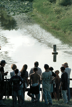 Onlookers wait it out for a monster 15-foot, 1,000 lb catfish to make an appearance near the shores of Lake O the Pines at Willow Point Marina Wednesday afternoon. Chris Matula photo.