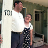 Eustolio Arroyo and his nine year-old daughter Narce on the front porch of their home. Chris Matula Photo.