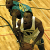 Philadelphia Eagle Bobby Taylor gets away from an opponent in the Celebrity Basketball Shootout Friday at LeTourneau U. Chris Matula photo.