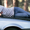 John Obyrne of Longview attempts to take an after lunch snooze at Teague Park Monday afternoon.  Lester Phipps, Jr.