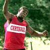 James Odom from Carthage High School competes in the Track Meet at Hallsville High School Thursday morning. Kevin Green