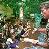 White Oak Mayor Tim Vaughn speaks to Paula Hale and Maureen Matson's multiage 1 and 2 class at White Oak Primaryin their rain forest displayFriday morning concerning the trees that Amoco wants to cut down. Kevin Green