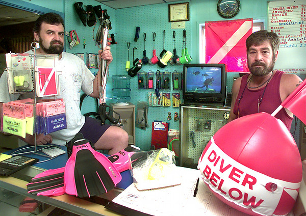 James Fritts, left, and Eddie Francis, right the co-owners of the Scuba Shop in Kilgore. Kevin Green