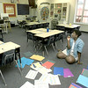 PT Inter. 3rd grade teacher Sarah Sheppard gets her last-minute item taken care getting her classroom in order Monday for the start of the school year today. Sheppard was 1996-97 PTISD Elementary Teacher of the Year. Matula photo.