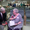 Congressman Ralph Hall, left, visits with Georgia Elliot, right a resident of Breezeway Nursing Center in Gladewater, after a town meeting on medicaid and medicare, Tuesday afternoon at Breezeway in Gladewater. Kevin Green