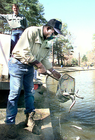 Raymond Cooper a technician at the Tyler state fish hatchery releases Rainbow trout as Tony Owens looks on, Monday morning at Teague Park in Longview, preparing for Saturday's kid fishing day. Kevin Green