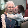 Florence Harris gets a hug and a kiss from her great, great grandson Justin Gibson during her 101 birthday dinner at Ryans Steakhouse in Longview Saturday afternoon.