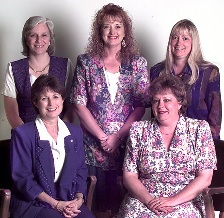 Officers of Insurance Women- Left to Right, Seated- Judy Parrott-2nd Vice Pres, Candy Ford-Pres, Standing-Vickie Wilson-1st Vice Pres, Tammy Hutchison-Sec, Ann Arnn-Tres. Kevin Green