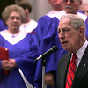 Gregg County Historical Commission Chairman Norman Black dedicates marker to 150 years of Methodism in Gregg County at Sunday morning services at the United First Methodist Church in Long View.  Obie LeBlanc
