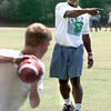 Larry Centers leads some quartback drills during the HYPE Sports Camp. Kevin Green