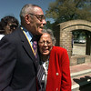 """Jarvis Christian College 7th president Dr. Charles Berry hugs 2nd first lady Rosae Washington as they meet at the dedication ceremonies of the school's """"Walk of Fame"""" Saturday. Washington was married to the school's 2nd president Clarence Washington who governed the institution through most of the '30s and '40s. Matula photo."""