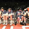 Lady Lobos Laurie Spier, Sarah MIllwood, Jennifer Mathis and Ashley Huffman reflect on their loss to Alief-Elsik HS Friday evening in Erwin Center during the semi-finals of the state tournament.  Matula photo.