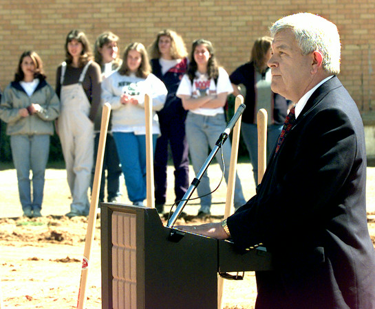 Dr. Alvin Austin president of LeTourneau University speaks during the ground breaking ceremony for a womens dormatory Thursday morning on the campus in Longview. Kevin Green