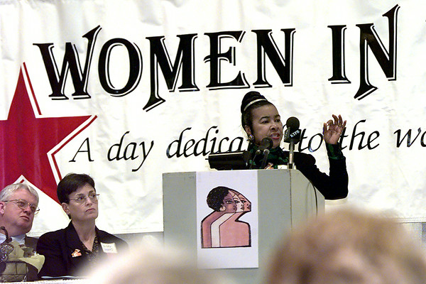 Xernona Clayton vice-president for urban affairs with Turner Broadcasting in Atlanta Georgia, speaks to a group of women Tuesday afternoon at the Women in Longview luncheon at Maude Cobb. Kevin Green