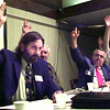 Archie Lowe, left, and othermembers of the Republic of Texas council take a vote on whether or not to have a Republic of Texas convention, during a Republic of Texas rally Sunday afternoon at the Kilgore Community Inn. Kevin Green