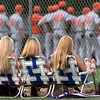 """""""Triplets"""" Emily Brumble, left, Ashley Whitten and Amy Benedetto wait for their Hallsville Bobcats to take the field against Texas HS before their playoff game at Lobo field in Longview Friday evening. Matula photo."""