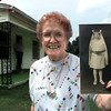 Orphan train woman Mary Scalf shows a picture of herself dressed up for First Communion when she was seven. Matula photo.