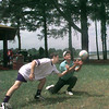 Bubba Jones left  backs up his dad Keith Jones of Harlton Tx. in a game of volly ball on Memorial Day at the Lakeside Park Lake O The Pines  Obie Le Blanc