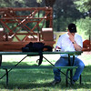 04/01/98--LeTourneau student Jeff Nine has to give up a gorgeous Wednesday afternoon to cram for an organic chemistry exam on the school campus. Matula photo.