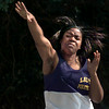 Date:   4/15/98----Nacole Henderson, from Pine Tree High School throws the ahot during a track meet Wednesday morning in Gilmer. kevin green