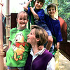 04/22/98--Laurie Gillespie stands with her kids Jan (9), Jameson (6) and John (7) at Akin Park. To go with bond election story. Matula photo.