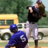 Date:   4/10/98--- Gladewater's #3 throws to first as Spring Hill's #5 slides into second unsucessfully during game at Spring Hill Friday afternoon in Longview. Kevin green