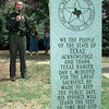 Date:   8/29/98---U.S. Border Patrol Agent Dan McDuffie Harris Jr. speaks to the crowd gathered Saturday afternoon in downtown Gladewater for the dedication of a memorial stone for his great grandad Texas Ranger Dan L. McDuffie whowas killed in the line of duty July 7 1931 in Gladewater. Kevin green