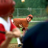Date:   8/6/98---Scott Adair, follows through with his pitch as the Marshall Longhorns start play in the 1998 Fall Ball Tourney at McWhorter Park in Longview. Kevin green