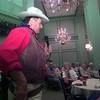 08/13/98---Dr. Gene Howard, John Wayne impersonator, recites one of his poems to an audience at Buckner Westminister Reitrement Center Thursday evening in Longview.  Jessica Williamson