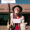 Date:   12/14/98---City of Longview library replica of a homeless person. Kevin green