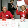 Carl Kidd, left, reacts as his wife Maxine, right, holds the right answer up duirng a newlywed game for seniors Tuesday afternoon at Longview Regional Medical Center in Longview. Kevin Green