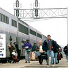 Passengers load and unload off of the Amtrak Train Werdnsesday afternoon in LOngview. Kevin green
