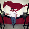 Tim Pease Class Act Hughes Springs in the weight room at the high school. Kevin green