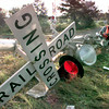 Date:   7/21/98---A Union Pacific employee works on a RR crossing guard after a train collided with a tractor-trailer rig at a railroad crossing off of Texas 155 in Pritchett damaging the crossing Tuesday afternoon. Kevin green