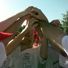 Date:   7/30/98---Longview American team has a final team moment before loading the buses on their way to Alabama for the Dixie Boys World Series Thursday morning in Longview.  Jessica Williamson