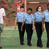 Date:   6/23/98---LPd Officer Gene Duffie, left, and advisor, instructs the drill team of Drew Whittenberg,15, Jennifer Mathis,16, Amy Patton,15, and Delamar Montgomery,14, during pratice. Kevin green