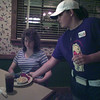 Date:   7/4/98---BET Best Home Cooked Meal--Cotton Patch Cafe--Jenni Gauthier, serves, Monica Ayres of Lake Charles, La.