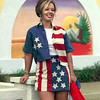 Date:   6/11/98Andrea Veach with Dressin' Gaudy models a short and jacket American Flag outfit the shorts and jacket run around 10 dollars each. Kevin green