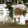 Date:   6/12/98Johnny Moffett of Gruver, TX. rides War Paint out of the chute Friday night at the Gladewater Round-Up Rodeo. Kevin green