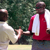 Date:   6/17/98---Larry Centers, left with the Arizona Cardinals visits with his brother Donnie during the HYPE golf tourney at Wood Hollow Golf Club Wednesday afternoon in Longview. Kevin GReen