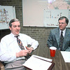 03/18/98--Sid Allen, left, and Bruce Hay in the Longview Partnership CIP committee mtg. Matula photo.