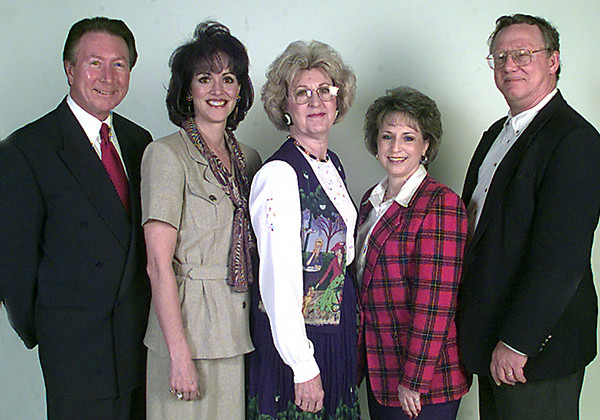 Date:   3/25/98---Left to right---officers for giants of the city---Larry Martin-Chairman, Derrith Bondurant-President, Linda Lindsey-vice pres, Alexis LeBlanc-sec., Dennis Taylor-director. Kevin green