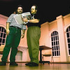 "05/26/98--Tenor Chris Haney of Longview and New York City, left, talks with ""Don Pasquale"" director Richard Berry during rehearsals Tuesday at Longview Community Center. Matula photo."