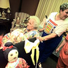 05/18/98--85 year-old Hallo Dee Austell looks around among her dolls with her daughter Doris Koonce, right, by her side during Hallo's 2nd annual doll show at Summer Meadows Monday afternoon. She has been doll making since the age of 12. Matula photo.