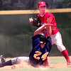 Date:   5/29/98Carthage's #21 throws to first as Highland Park's #24 trys to block the throw during their game at Driller Park in Kilgore. kevin green