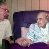 Date:   5/20/98---James L. Frier, left, visits with his mother-in-law Esther G. Stirling, right, who will turn 100 on May 29, she was born in Clinton,LA. in 1898. Kevin green