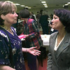 Date:   5/4/98----Barbara Nyvall, left, a counseler at Spring Hill High School visits with TX State Rep. Sherri Greenberg after she spoke during the Longview Elks Lodge banquet Monday evening in lOngview. Kevin green