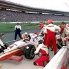 Davey Hamilton waits in his car during a pitstop during the 97 IRL race at TMS in Ft. Worth. kevin green